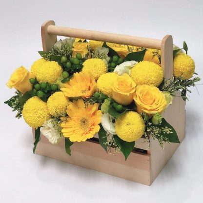 กระเช้าดอกไม้โทนสีเหลือง